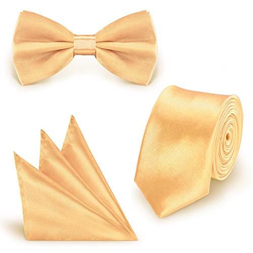 StickandShine SET Krawatte Fliege Einstecktuch Gold einfarbig uni aus Polyester