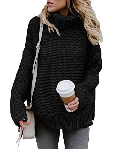 Minetom Mujer Otoño E Invierno Jersey Long Pullover Suéter Punto Texturizado con Cuello Alto Elegante Clásico Suéter Manga Larga Suelto Jumper Tops Negro ES 36