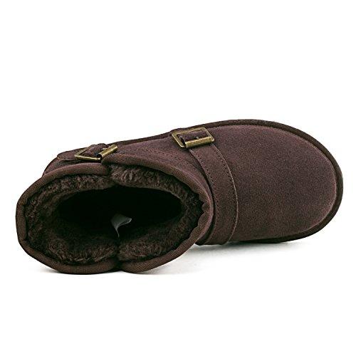 Shenduo - Chaussures fourrées de cuir pour homme, Bottes de neige & Boots d'hiver classique doublure chaude DAC041 Chocolat