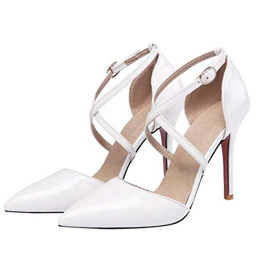 Zapatos de tacón Honestyi Moda para Mujer Casual Slip On Peep Toe Sandalias de Cuero Cabeza Redonda Salvaje Boca de pez Cremallera Zapatos de Baile de Salsa