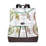 AIMILUX Progettazione in tandem variopinta della bicicletta sulla stampa bianca di stile di clipart del modello del fondo,Borsa casual da donna con zaino in pelle per zaino retrò