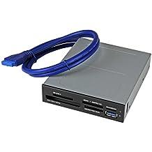 StarTech.com 35FCREADBU3 - Lector interno USB 3.0 para tarjetas de memoria Flash SD, micro SD MS CF con soporte para UHS-II