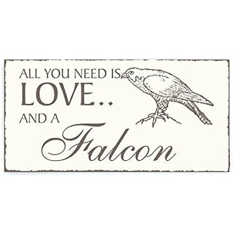 Placa decorativa, « All You Need is Love And A Falcon » Falke Cartel de cartel de madera puerta ornithologe Vintage Pájaro