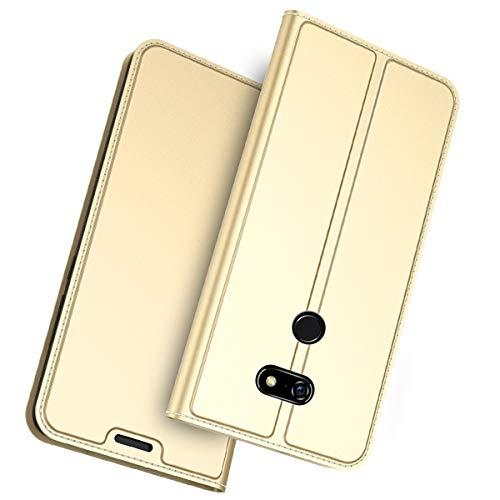 fitmore für Sharp Aquos Zero Hülle, Ultra Dünn PU-Leder Schutzhülle [Anti-Kratzen] Flip Case Lederhülle Etui mit Kartenfach Magnetverschluss Ledertasche für Sharp Aquos Zero Gold