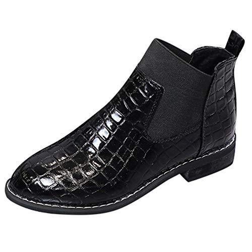 Frauen Lack Leder Schuhe Stiefel mit niedrigem Absatz Damen Round Toe Martin Stiefel