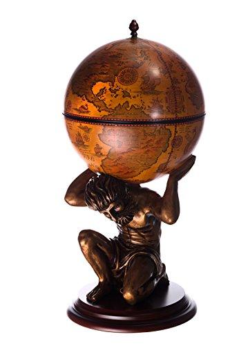 Riesiger Barwagen JG 42016R-GR, exclusive Figur ATLAS, mit massiven Eukalyptusholz Boden in antik Rotbraun, geöffnet 100 cm hoch und 41 cm breit, antike Weltkugel Globusbar, Bartisch, Hausbar, Barwagen, Weltkugel, Cocktailbar, Dekobar, Tischbar