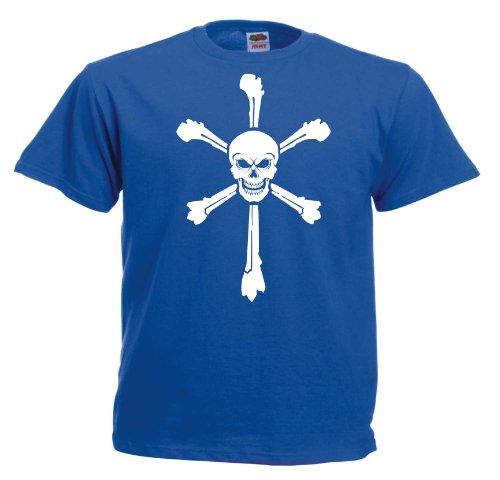 Crossbones II T150 Unisex T-Shirt Textilfarbe: blau, Druckfarbe: weiß