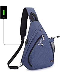 Sling Bag Chest Schulter Rucksack SINOKAL Casual Crossbody Schulter Dreieck Packs Daypacks für Männer Frauen Canvas Digitalkamera Taschen mit Aufladung Port für Sport Outdoor Gym Travel Wandern