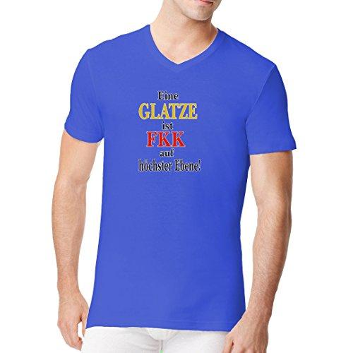 Fun Sprüche Männer V-Neck Shirt - FKK Glatze by Im-Shirt Royal