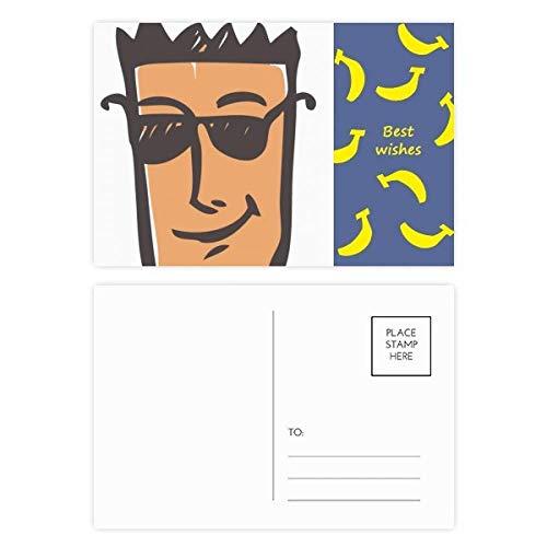 Postkarten-Set mit Sonnenbrille, abstraktes Gesicht, Emoji, Banane, 20 Stück