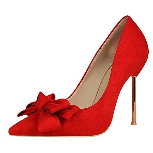 Senhoras Aalardom Estilete Arrastar Do Dedo Do Pé Pointy Em Puramente Bombas Sapatos Com Laço Vermelho