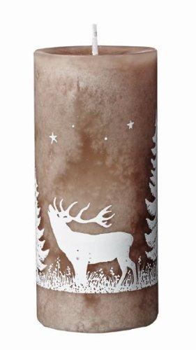 Weihnachtskerzen Foresta mit Hirsch durchgefärbte Stumpen Kerzen 12 x 5,5 cm Taupe