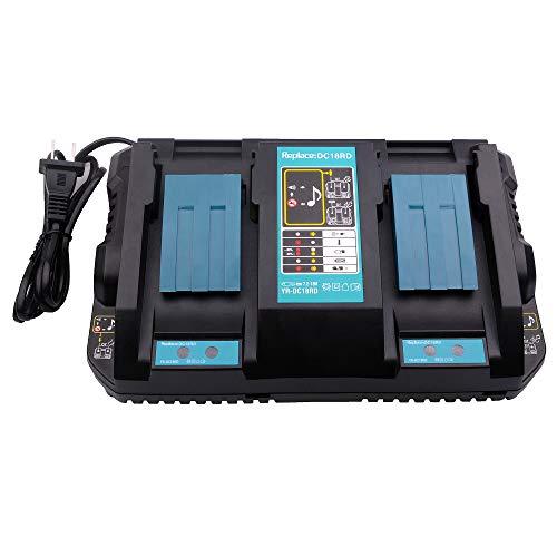 14.4-18V Lithium-Ionen-Dual-Port-Ladegerät DC18RD Ersatz für Makita LXT 14,4-18 Volt Lithium-Ionen-Akku-Ladegerät DC18RC DC18RA DC18SF für BL1830 BL1840 BL1850 BL1860 BL1430 BL1450 BL1440