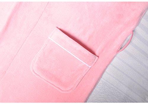 Pigiama Primavera Donna A Maniche Lunghe Flanella Vestaglia Pigiama Lunghi Accappatoi Pink