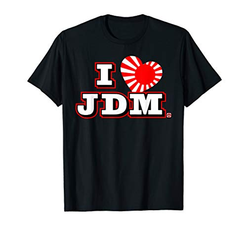 Ich liebe JDM. Herzsonne steigende Japan-Flagge. I Love JDM. T-Shirt