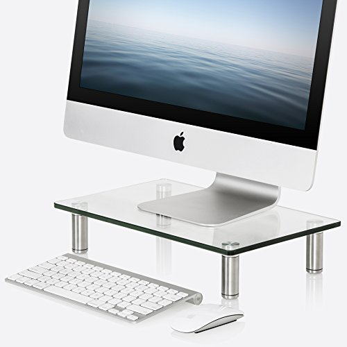 Fitueyes Glass Monitor Stand Computer Laptop TV Screen Riser Desk Organiser 385 x 240 mm Height Adjust Clear DT103801GC