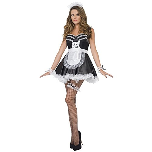 ner Damen French Maid, Schwarz-Weiß, mit Druckknopfverschluss, Kochmütze, Schürze und Garter Allo Allo Henne, Karneval & Festival-Set (Naughty Maid Kostüme)