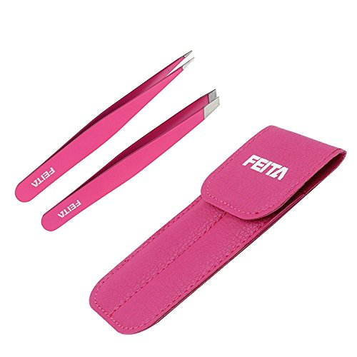Feita Cejas Pinzas, belleza herramientas para maquillaje de cejas desplume/Moldeador, mano finished-–Rosa Pinzas de acero inoxidable para las mujeres (2piezas)