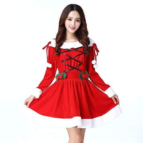 GSDZN - Dame Weihnachtsmann Kostüm Velour Santa Bekleidung - Standardgröße S-XL
