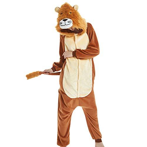 LPATTERN Erwachsene Damen/Herren Cartoon Kostüm- Jumpsuit Overall Schlafanzug Pyjamas Einteiler, Braun Löwe, L für Körpergröße - Für Erwachsene Sexy Löwen Kostüm