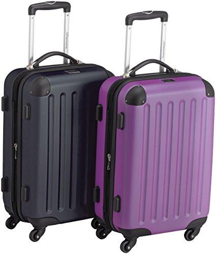 HAUPTSTADTKOFFER - Spree - 2er Koffer-Set Handgepäck Hartschale matt, TSA, 55 cm, 49 Liter, Gelb-Schwarz Lila/Dunkelblau