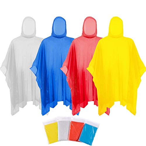Disposable Poncho, Emergency Rain Poncho, Transparent, Dust and Wind-resistance and Lightweight, Portable Hooded, Available for Unisex Adults and Children for Camping, Hiking, Fishing and Boating