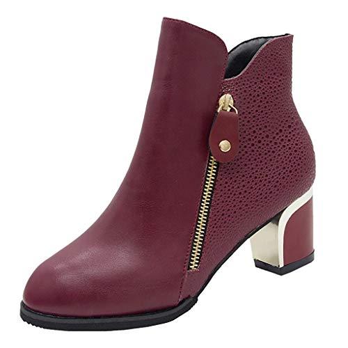 Damen Elegant Stiefeletten mit Absatz Vintage Stiefel Seitlicher Reißverschluss Kurzschaft Stiefel Warm Stiefel Kurz Mädchen Freizeit Schuhe High Heel Ankle Boots(Rot/Wine,38) -