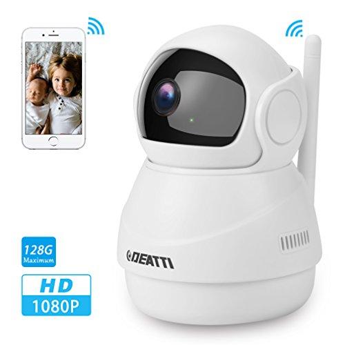 Wlan Überwachungskamera 1080P mit Nachtsicht, Schwenk- und Neigefunktion, zweiwege-Audio und Handy-App für Ihr Heim-Sicherheitssystem von DEATTI, Weiss