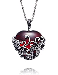 Yellow Chimes Red Romantic Heart Filigiree Antique Looks Red Glass Designer Pendant for Women
