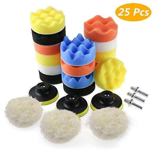 Zaeel Polierschwamm für Auto, 25pcs Polierschwamm Kit mit Polierpad und M10 Bohrer Adapter, aus Schwamm und Wolle Polierset Polierhaub Polierauflage für Poliermaschine