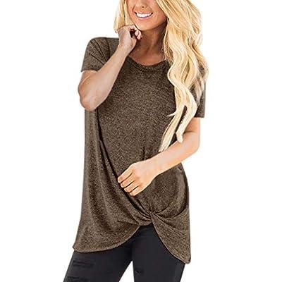 Dorical Kurzarm T-Shirt Damen O-Ausschnitt Casual Sommer Lose Shirt Oversize Oberteile Frauen Freizeit Twist Knoten Bluse Tägliche Einfarbige Tops 14 Farben S-XXXL Größe Sale