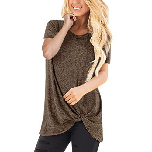ESAILQ Frau LäSsige Solid Color Kurzarm O Neck Bluse Twist Verknotet Tops T-Shirt(X-Large,Kaffee)