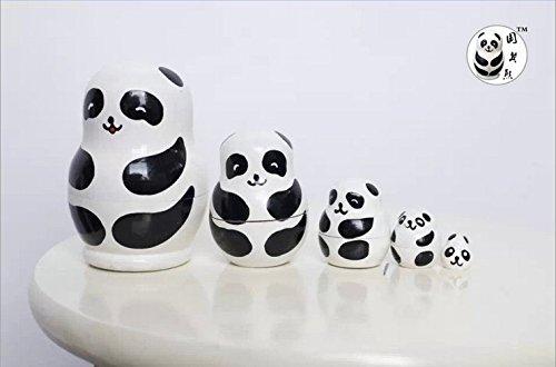 Nesting Doll Ornament (moorejieka Cute Animal Cartoon Pattern Schachtelpuppe, holz, panda)