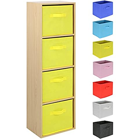 Hartleys 4 Tier Beech Cube Unit - Choice of Storage Boxes