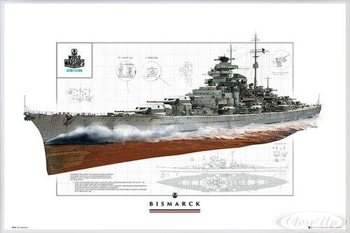 Close Up World of Warships Poster Schlachtschiff Bismarck (62x93 cm) gerahmt in: Rahmen Weiss