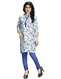Venisa Women's Printed Cotton Kurti ( Blue & Off White_6001-M)