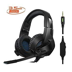 Rimila Stereo Gaming Headset für PS4, PC, Xbox One Controller, Noise Cancelling Over Ear Kopfhörer mit Mikrofon, Bass Surround, weiche Memory-Ohrenschützer für Laptop Mac Switch Spiele