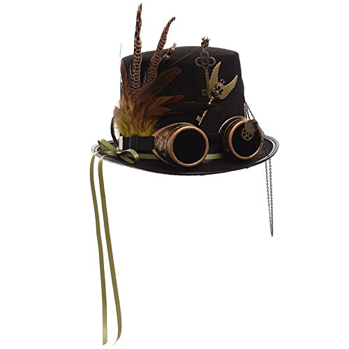 GRACEART Unisex Steam Punk Hat Goggles Top Hat (Head circumferences-61cm) steampunk buy now online