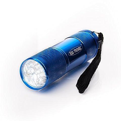 Taschenlampe 9 LED´s blau inkl. Batterien - LED Lampe Alu Leuchte Licht