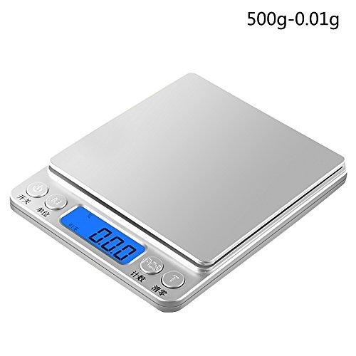 BESSKY Digital Scale Feinwaage die in 0,01 g Schritten präzise bis 500g wiegt, Taschenwaage, Briefwaage, Goldwaage, Tischwaage mit Edelstahl Wiegefläche (A)