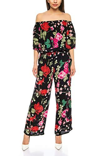 Floral Print Romper (Kendindza Damen Overall Allover-Print | Floral Jumpsuit | Flower Hosenazug (Schwarz, S/M))