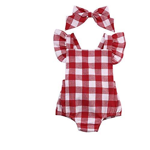 Ropa Bebe Niña Verano Fossen Recién Nacido Bebé Mono de cuadros con...