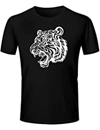 T Shirt - Half Sleeve Round Neck Tiger Graphics Printed 100% Cotton T Shirt - Tattoo Tiger Graphics Print T Shirt...