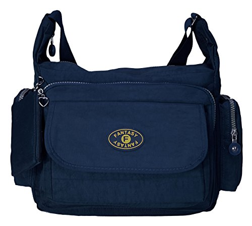 GFM pour femme Poches multiples en tissu léger de Croix Corps Sac Sac à bandoulière Messenger sac Style 3 - Navy Blue (9048GHNL)