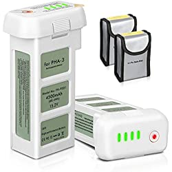 ENEGON 2-Paquet Batterie de Rechange 15.2V 4500mAh Vol Intelligent LiPo Batterie de Rechange + Sac de Sécurité de la Batterie pour DJI Phantom 3 Se, Professionnel, Advanced, Standard, Drones 4K