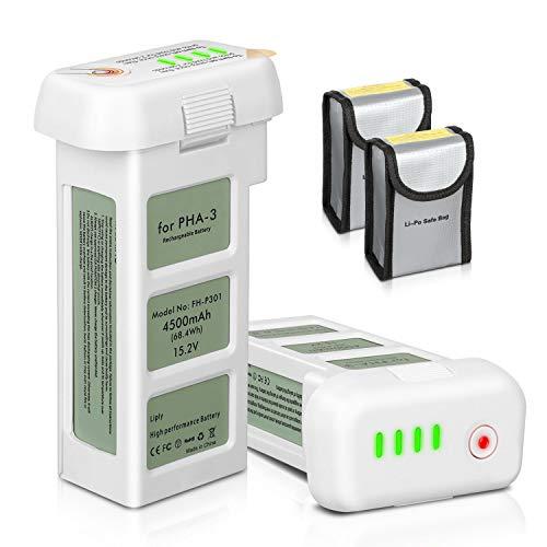 ENEGON Akku 2er Packung Upgrade Phantom 3 15,2V 4500mAh Intelligent Flug LiPo-Ersatzbatterie + Schützende Aufbewahrungstasche für Batterie für DJI Phantom 3 SE, Professionell, Advanced, Standard, 4K