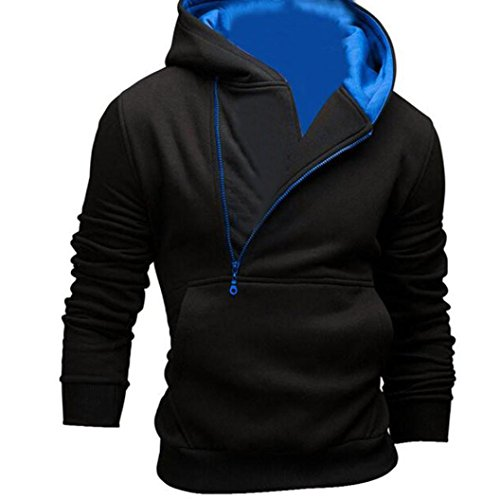 Oyedens Mens Long Sleeve Zip Hooded Sweatshirt Hoodie Jacket Coat Outwear Tops (M, Black Blue)