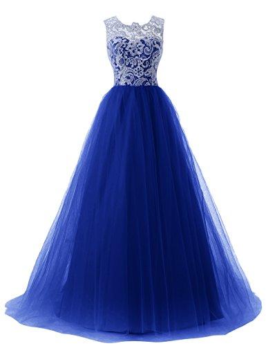 Dressystar Robe femme, Robe de soirée/Cérémonie longue, à fleur, en dentelle,tulle. Bleu Saphir