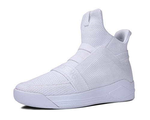 88f4c65ab4f440 Soulsfeng Mens White Breathable Mesh Knit High-Top Athletic Running Sneakers  8.5 UK
