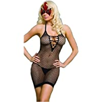 Sexy Petite fishnet mini dress body stocking – very sexy quality black classic mini dress bodystocking, small mesh fishnet, shoulder straps, zigzag ribbon at front, fits UK6- UK14
